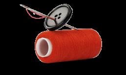 naald en draad rood close-up